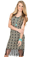 Wrangler Women's Black & Cream Aztec Print with Fringe Sleeveless Dress