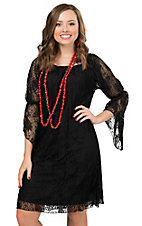 Rock 47 by Wrangler Women's Black Lace 3/4 Sleeve Dress