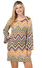 Rock 47 by Wrangler Women's Multi Chevron Sweater Knit Long Bell Sleeve Dress
