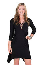 Rock 47 by Wrangler Women's Black with Embroidered Neckline and Fringe Details 3/4 Sleeve Dress