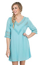 Rock 47 by Wrangler Women's Turquoise with Crochet Details and 3/4 Sleeves Dress