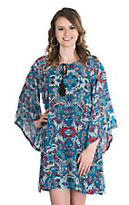 Rock 47 by Wrangler Women's Blue and Pink Ornate Print Long Bell Sleeve Dress