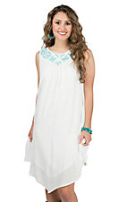 Rock 47 by Wrangler Women's White with Teal Aztec Embroidery Sleeveless Dress