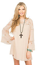 Rock 47 by Wrangler Women's Cream with Lace Accents Long Bell Sleeve Dress