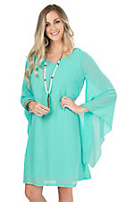 Rock 47 by Wrangler Women's Turquoise with Long Bell Sleeve Dress