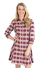 Rock 47 by Wrangler Women's Cream, Coral, and Fuchsia Dobby Plaid Long Sleeve Flannel Shirt Dress
