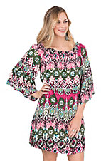 Rock 47 by Wrangler Women's Fuchsia and Green Print with Elastic Off The Shoulder Long Bell Sleeve Dress