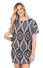 Rock 47 by Wrangler Women's Black and White Aztec Print Cap Sleeve Dress
