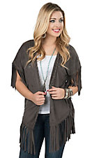 Rock 47 by Wrangler Women's Charcoal Faux Suede with Fringe Kimono