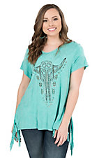 Rock 47 by Wrangler Women's Vintage Turquoise with Steer Head & Fringe Short Sleeve Tee