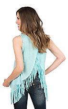 Rock 47 by Wrangler Women's Turquoise with Fringe Accents Sleeveless Open Back Fashion Top