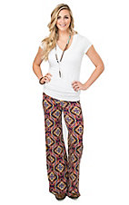 Rock 47 Women's Purple Multicolor Diamond Print Palazzo Pant
