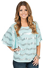Rock 47 by Wranlger Women's Light Blue with Silver Sequin Chevron Design Flutter Sleeve Top