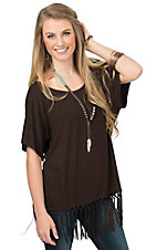 Rock 47 by Wrangler Women's Brown Knit with Fringe Hem Top