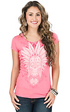 Rock 47 by Wrangler Women's Pink with Indian Skull Short Sleeve Tee