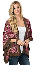 Rock 47 Women's Brown & Pink Geometric Print Kimono Cardigan