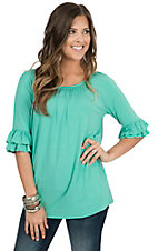 Rock 47 by Wrangler Women's Turquoise with Ruffle Sleeve Tunic