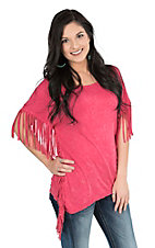 Rock 47 by Wrangler Women's Pink with Fringe Details Short Sleeve Casual Knit Top