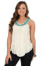 Rock 47 by Wrangler Women's Cream with Turquoise Neckline Waterfall Tank