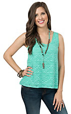 Rock 47 by Wrangler Women's Turquoise Aztec Mesh Sleeveless Fashion Tank Top
