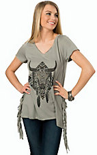 Rock 47 by Wrangler Women's Grey Studded Steer Head with Fringe Short Sleeve Top