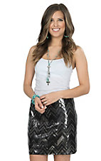 Rock 47 by Wrangler Women's Black & Silver Sequin Chevron Skirt