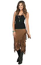 Rock 47 by Wrangler Women's Brown Faux Suede Fringe Skirt