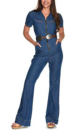 Wrangler Retro Women's Quinn Medium Wash High Rise Short Sleeve Trouser Leg Western Jumpsuit