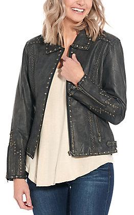 Cripple Creek Women's Black Studded Leather Jacket