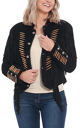 Cripple Creek Women's Black Buffalo Suede Bone Piped Jacket