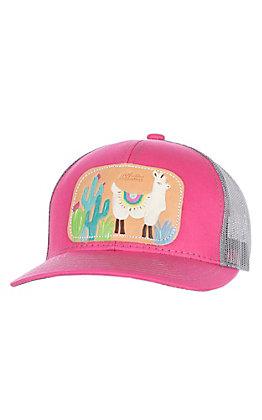 McIntire Saddlery Pink and Llama Tooled Leather Cap