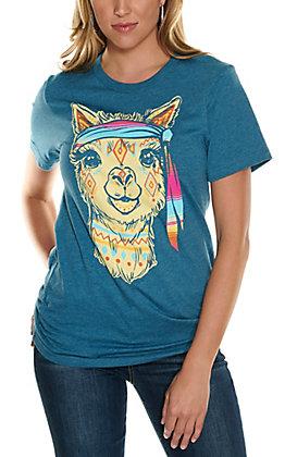 Rowdy Crowd Women's Dark Teal Aztec Llama Graphic Short Sleeve T-Shirt