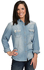 Wired Heart Women's Light Wash Denim with Aztec Long Sleeve Western Snap Shirt