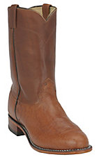XEMLarry Mahan Men's Peanut Brittle Brown Smooth Ostrich Exotic Roper Western Boot