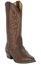XEMLarry Mahan Mens Kango Tobacco Brown Full Quill Ostrich R-Toe Exotic Western Boot