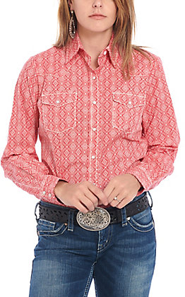 Cowgirl Legend Women's Coral with White Diamond Print Long Sleeve Western Shirt