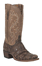 Lucchese 1883 Men's Chocolate Distressed Giant American Alligator 7-Toe Narrow Punchy Toe Exotic Western Boots