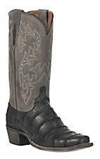 Lucchese 1883 Men's Black Distressed Giant American Alligator 7-Toe Narrow Punchy Toe Exotic Western Boots