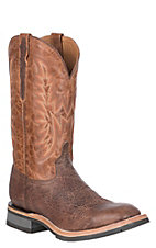 Lucchese Men's Chocolate Cowhide Rudy Square Toe Western Barn Boot