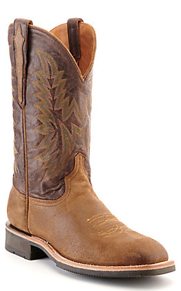 Lucchese Men's Rudy Brown Suede and Chocolate Wide Square Toe Western Barn Boot