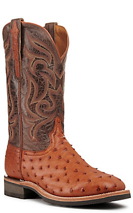 Lucchese Men's Cognac Full Quill Ostrich and Brown Wide Square Toe Exotic Western Boot