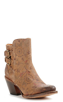 Lucchese Women's Catalina Tan with Floral Print and Buckles Round Toe Bootie