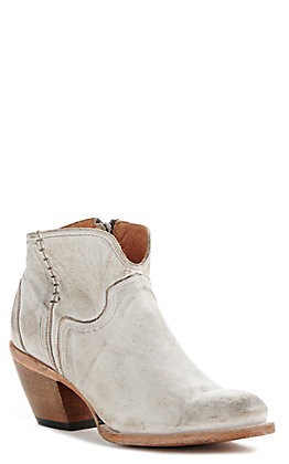 Lucchese Women's Erica White Distressed Leather Round Toe Booties
