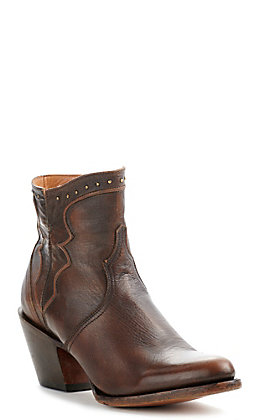 Lucchese Women's Karla Maple Brown Leather Studded Round Toe Booties