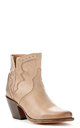 Lucchese Women's Tan Brown Studded Round Toe Bootie