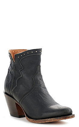 Lucchese Karla Women's Black Leather Studded Round Toe Booties