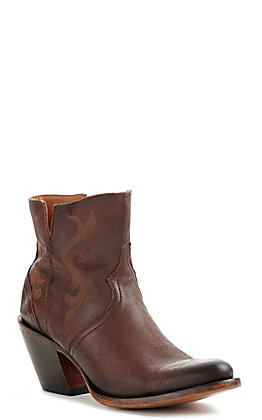 Lucchese Alondra Women's Chocolate Brown Leather Etched Round Toe Booties
