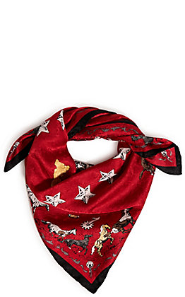 Wyoming Trader's Limited Edition Red Clark Kelley Price Mustang Print Silk Scarf