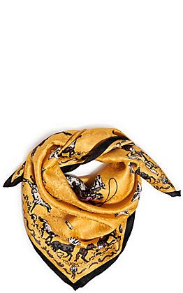 Wyoming Trader's Limited Edition Gold Clark Kelley Price Mustang Print Silk Scarf