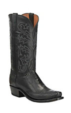 Lucchese 1883 Men's Black Ostrich Leg Exotic Snip Toe Boots